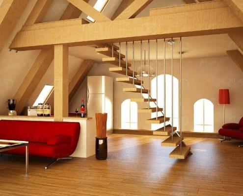 Ahşap Merdiven Çatı Katı döşeme