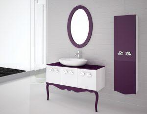 Değişik Mor Banyo Dolabı Tasarımları